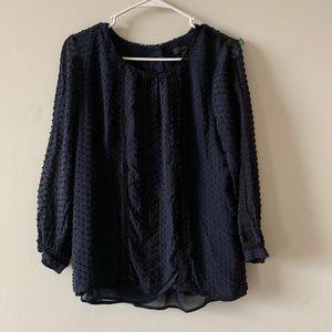 J. Crew navy silk blouse